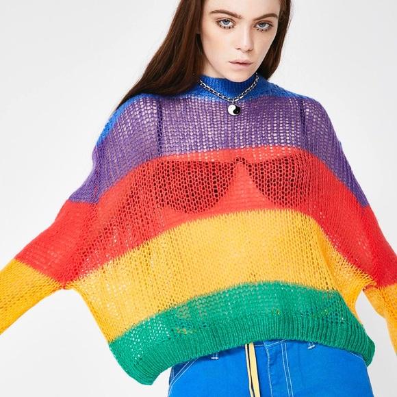 Lazy Oaf Sweaters Nwt Rainbow Oversized Knit Sweater Poshmark